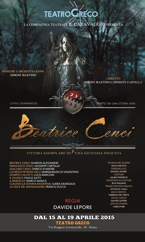 Beatrice Cenci Opera drammatica locandina