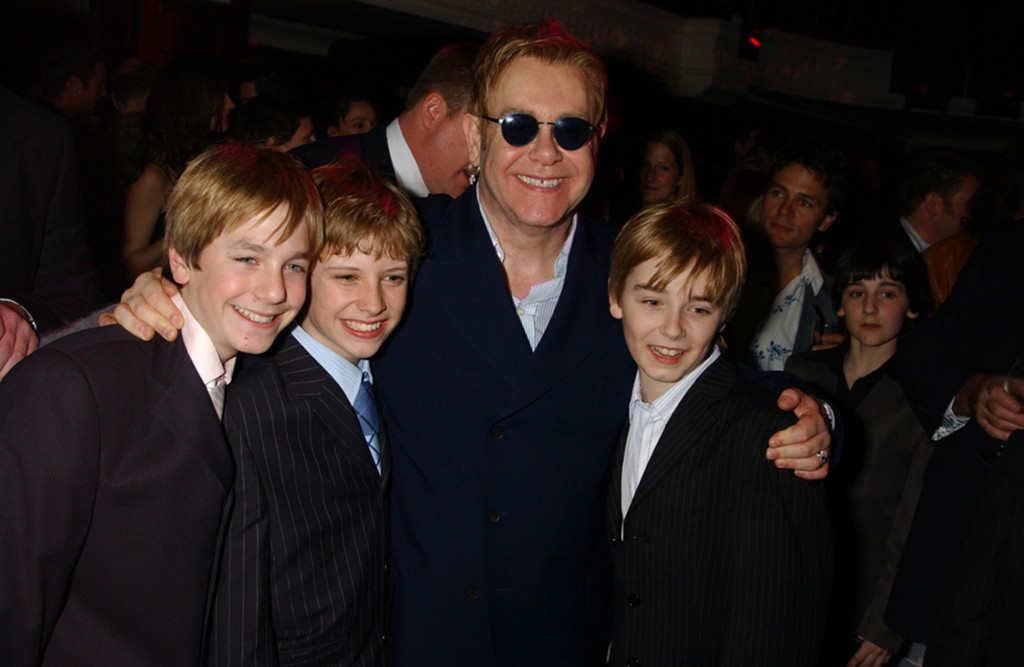 Sir Elton John with the three Billys at the first night of the Musical Billy