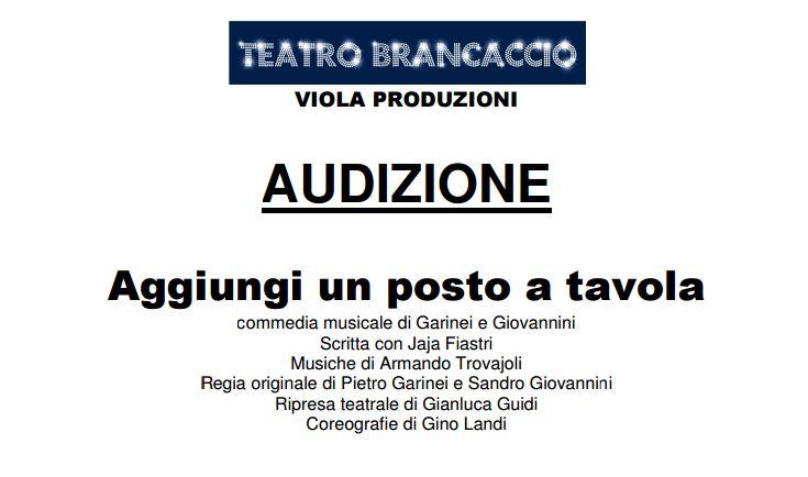 Brancaccio viola produzioni casting per ruoli ed - Teatro brancaccio aggiungi un posto a tavola ...