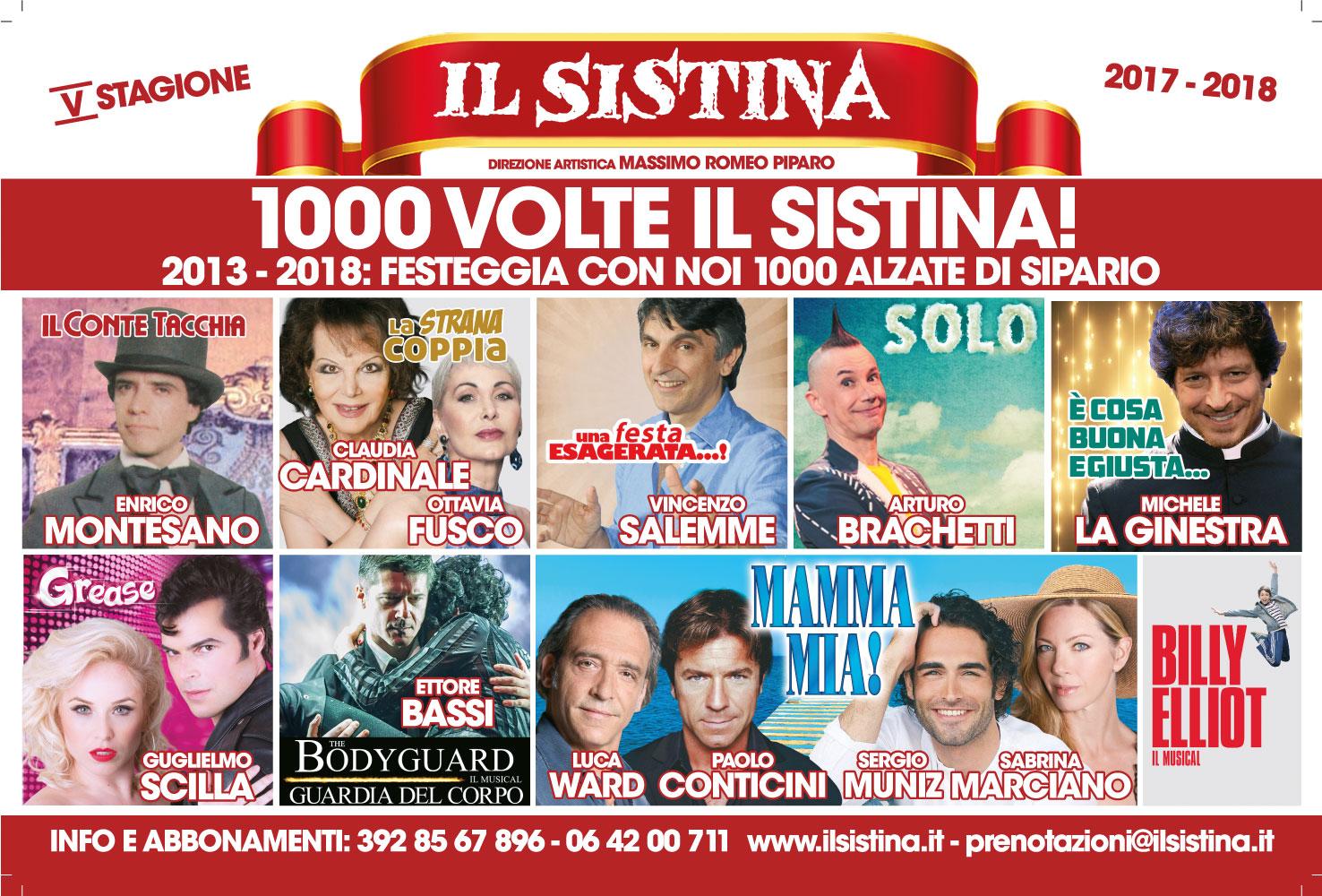 MILLE VOLTE IL SISTINA: LA STAGIONE 2017-2018. PIPARO FESTEGGIA 1000 ALZATE DI SIPARIO